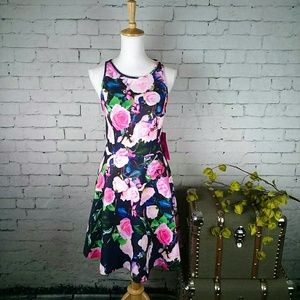 NWT Betsey Johnson floral fit and flare midi dress